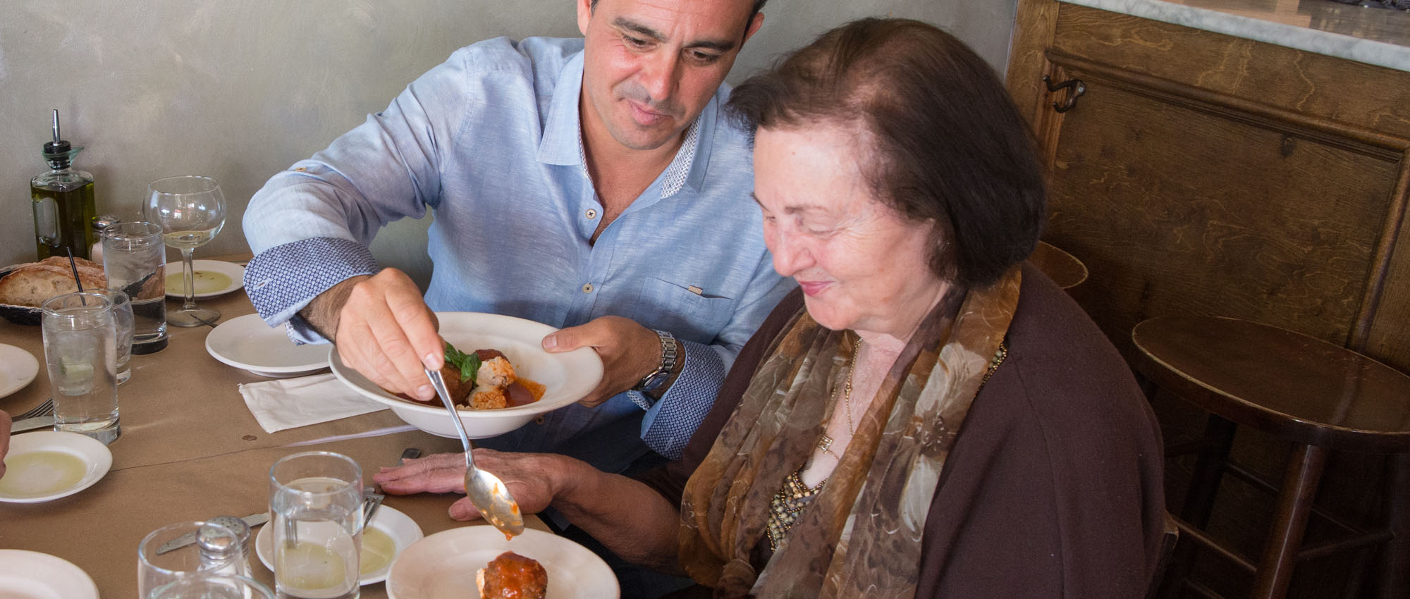 giving grandma a meatball